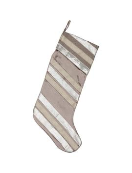 20 In. Viscose/Polyester Allura Dove Grey Glam Christmas Decor Stocking by Vhc Brands