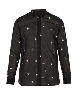 Star Print Wool Blend Shirt by Saint Laurent