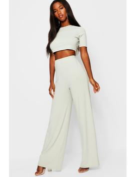 Rib Wide Leg Trouser + Top Co Ord by Boohoo