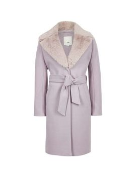 Girls Lilac Belted Faux Fur Belted Coat by River Island