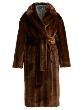 Belted Faux Fur Coat by Kwaidan Editions