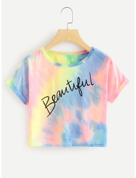 Slogan Print Water Color Cuffed Tee by Romwe