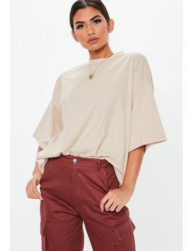 Sand Graphic Back Oversized T Shirt by Missguided