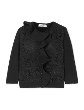 Ruffled Lace Paneled Knitted Cardigan by Valentino