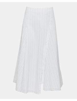 Cotton Blend Striped Flounce Skirt by Theory