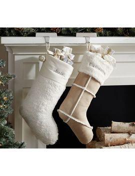 Personalized Faux Fur Sheepskin & Sherpa Stockings by Pottery Barn