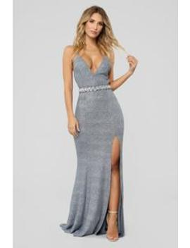 Sparkle And Shine Metallic Gown   Silver by Fashion Nova