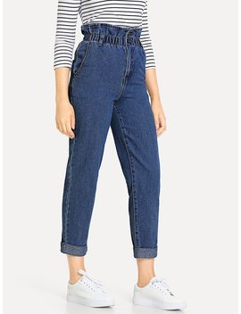 Rolled Hem Frill High Waist Jeans by Shein
