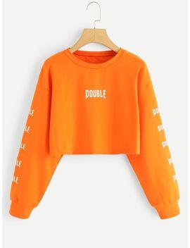 Neon Orange Letter Print Crop Sweatshirt by Sheinside