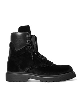 Patty Leather Trimmed Velvet Ankle Boots by Moncler