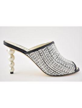 Nib Chanel 18 C Black Beige Grey Tweed Mule Cc Pearl White Sandal Heel Pump 39 by Chanel