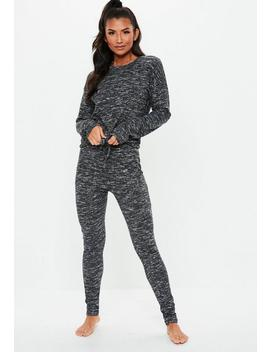 Black Long Sleeve Drawstring Lounge Set by Missguided