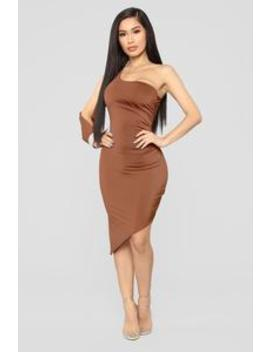 Out For The Night One Shoulder Dress   Rust by Fashion Nova