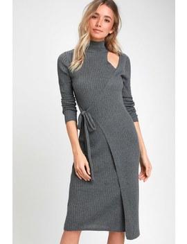 Minuet Grey Wrap Midi Sweater Dress by Lulu's