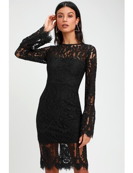 Enrapturing Elegance Black Lace Long Sleeve Midi Dress by Lulus