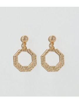 Gold Premium Hexagon Hoop Earrings by New Look