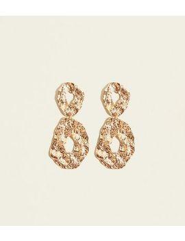 Gold Beaten Metal Linked Oval Earrings by New Look