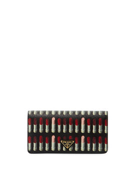 Lipstick Print Saffiano Crossbody Wallet/Tech Case Bag by Prada