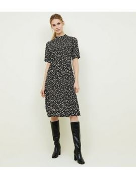 Black Ditsy Floral High Neck Midi Dress by New Look