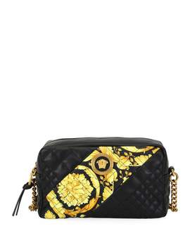 Icon Small Quilted Napa Camera Bag With Barocco Print by Versace