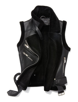 Leather Moto Vest W/ Fur Lining by Belle Fare