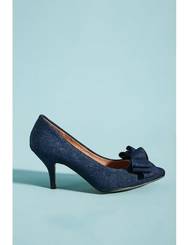 All Black Denim Bow Heels by All Black