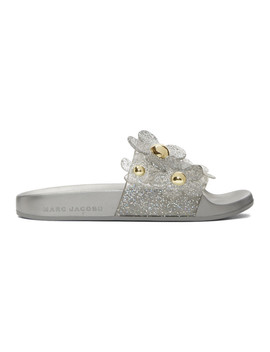Silver Daisy Aqua Slides by Marc Jacobs