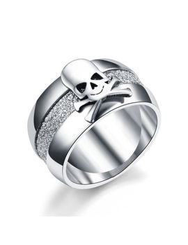 10mm Titanium Steel Silver Band Men's Skull Gothic Wedding Party Ring Size 7 12 by Unbranded