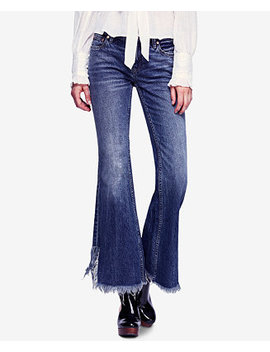 Cotton Vintage Inspired Frayed Flared Jeans by Free People