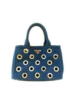 Auth Prada Canapa Grommet Blue Silver Canvas Hardware Tote Bag by Prada