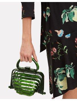 Lilleth Acrylic Green Fold Top Bag by Cult Gaia
