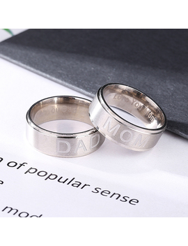 Men's/Women's Stainless Steel Ring Family Dad&Mom Lovers Titanium Steel Ring by Unbranded