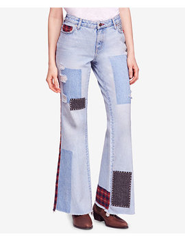 Mixed Patchwork Cotton Slim Flare Jeans by Free People