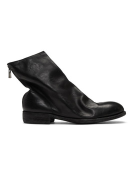 Black Horse Back Zip Ankle Boots by Guidi