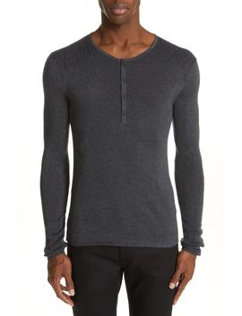 Ribbed Henley T Shirt by John Varvatos