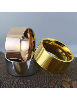 Men Women 10mm Wide Band Stainless Steel Ring Big Polished Cool Band High Flat by Unbranded