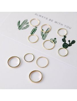 10pcs/Set Mid Midi Stack Plain Knuckle Punk Gold Finger Ring Stacking Jewelry by Unbranded