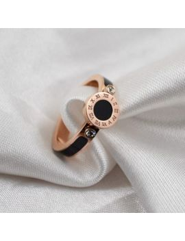 Women's 3.5 Mm Roman Numerals Titanium Steel 18 K Rose Gold Black Enamel Cz Ring by Unbranded