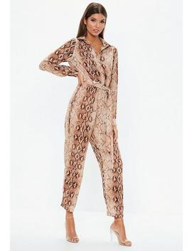 Brown Snakeprint Utility Jumpsuit by Missguided