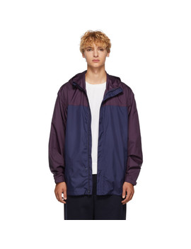 Navy & Purple Colorblocked Hooded Jacket by 3.1 Phillip Lim