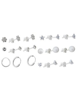 Revere Sterling Silver Crystal & Cz Studs   Set Of 6 by Argos