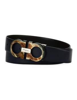 Men's Resin Gancini Leather Belt by Salvatore Ferragamo