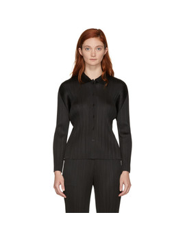 Black Basics Pleated Shirt by Pleats Please Issey Miyake