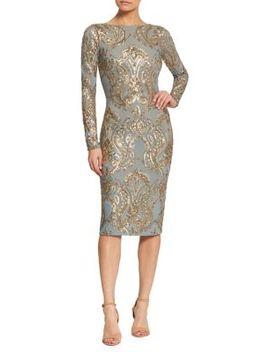 Emery Metallic Sequin Midi Sheath Dress by Dress The Population
