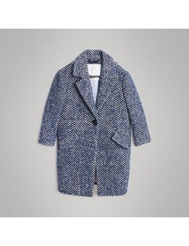Herringbone Wool Cotton Blend Tailored Coat by Burberry