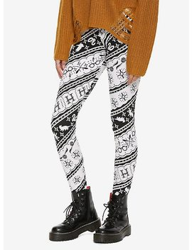 Harry Potter Black &Amp; White Hogwarts Fair Isle Leggings by Hot Topic