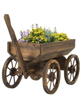 Best Choice Products Garden Wood Wagon Flower Planter Pot Stand With Wheels Home Outdoor Decor by Best Choice Products