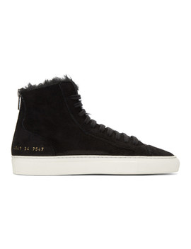 Ssense Exclusive Black Shearling Tournament High Top Sneakers by Woman By Common Projects