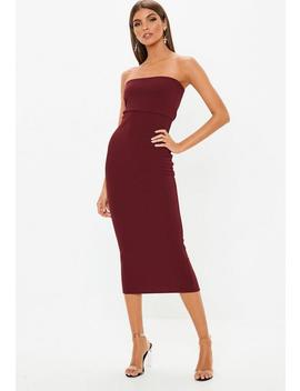 Wine Bandeau Midi Dress by Missguided