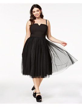 Trendy Plus Size Strapless Tulle Dress by City Chic